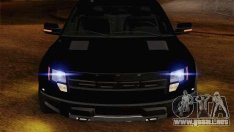 Ford F-150 SVT Raptor 2011 para GTA San Andreas vista hacia atrás
