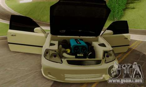 Honda Civic ek Coupe Hellaflush para GTA San Andreas vista hacia atrás