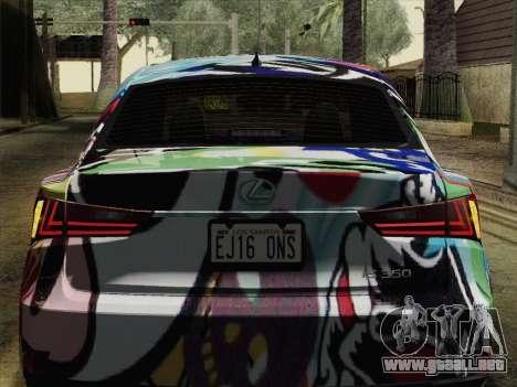 Lexus IS350 FSPORT Stikers Editions 2014 para GTA San Andreas vista hacia atrás