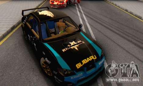 Subaru Impreza WRC STI Black Metal Rally para GTA San Andreas vista hacia atrás