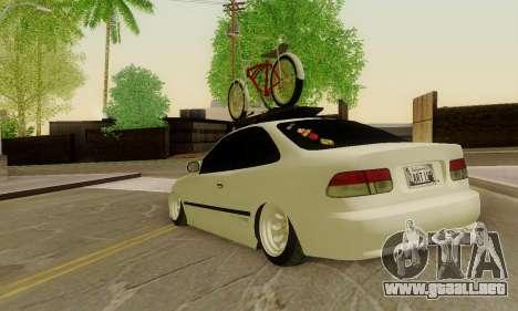 Honda Civic ek Coupe Hellaflush para GTA San Andreas vista posterior izquierda