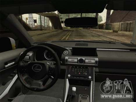 Lexus IS350 FSPORT Stikers Editions 2014 para visión interna GTA San Andreas