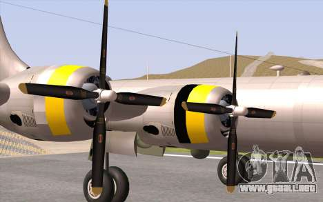 B-29A Superfortress para GTA San Andreas vista hacia atrás