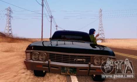 Chevrolet Impala 1967 Supernatural para GTA San Andreas vista hacia atrás