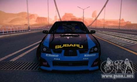 Subaru Impreza WRC STI Black Metal Rally para la vista superior GTA San Andreas