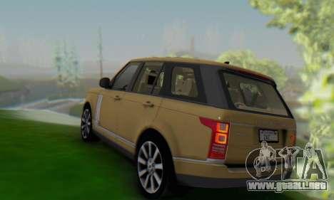 Range Rover Vogue 2014 V1.0 SA Plate para GTA San Andreas vista posterior izquierda