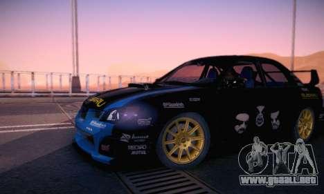 Subaru Impreza WRC STI Black Metal Rally para vista inferior GTA San Andreas