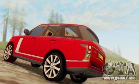 Range Rover Vogue 2014 V1.0 UK Plate para GTA San Andreas vista hacia atrás