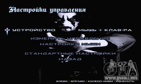 Black Metal Menú (pantalla completa) para GTA San Andreas quinta pantalla