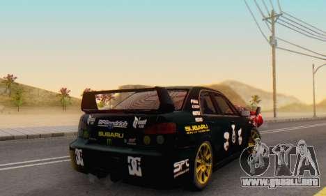 Subaru Impreza WRC STI Black Metal Rally para visión interna GTA San Andreas