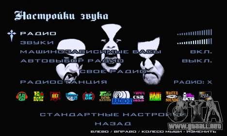 Black Metal Menú (pantalla completa) para GTA San Andreas sexta pantalla