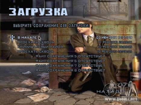La pantalla de arranque de Mafia II para GTA San Andreas octavo de pantalla