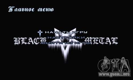 Black Metal Menú (pantalla completa) para GTA San Andreas segunda pantalla