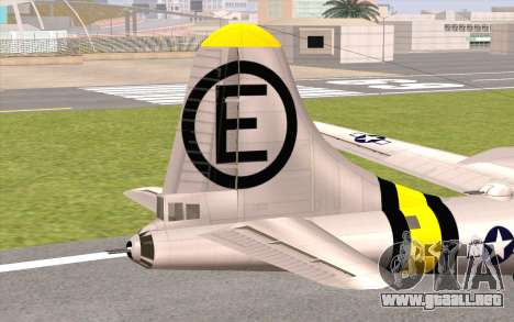 B-29A Superfortress para GTA San Andreas vista posterior izquierda