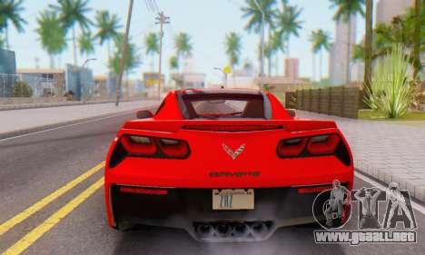Chevrolet Corvette Stingray C7 2014 para GTA San Andreas vista hacia atrás