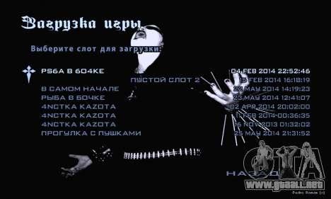 Black Metal Menú (pantalla completa) para GTA San Andreas sucesivamente de pantalla