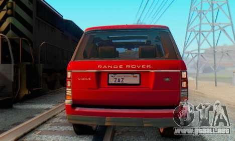 Range Rover Vogue 2014 V1.0 Interior Nero para GTA San Andreas vista posterior izquierda