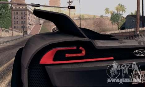 SSC Tuatara 2011 para GTA San Andreas vista hacia atrás