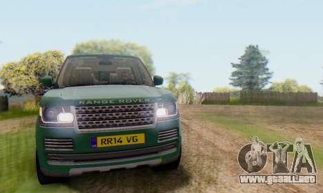 Range Rover Vogue 2014 V1.0 UK Plate para vista lateral GTA San Andreas