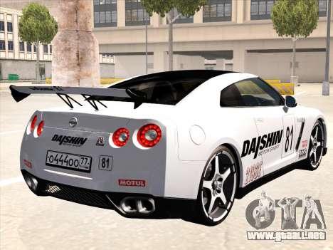 Nissan GTR-R35 Spec-V para vista inferior GTA San Andreas