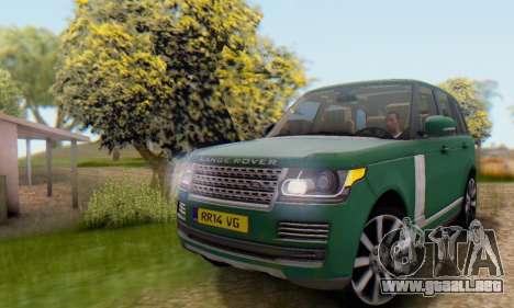 Range Rover Vogue 2014 V1.0 UK Plate para visión interna GTA San Andreas
