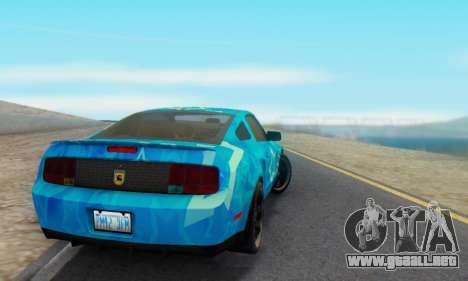 Ford Mustang Shelby Blue Star Terlingua para GTA San Andreas vista posterior izquierda