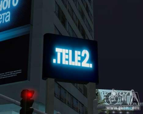 Oficina de TELE2 para GTA San Andreas sucesivamente de pantalla