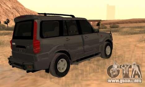 Mahindra Scorpio para GTA San Andreas vista hacia atrás