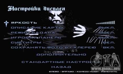 Black Metal Menú (pantalla completa) para GTA San Andreas séptima pantalla