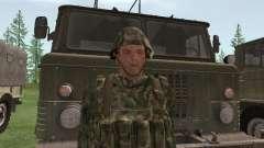 El combatiente del ejército ruso