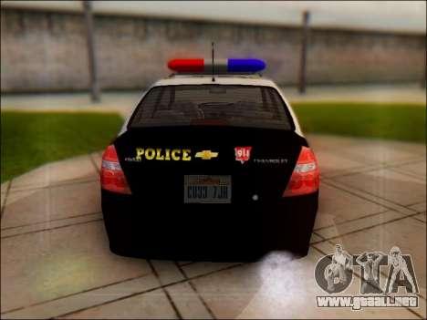 Chevrolet Aveo Police para la visión correcta GTA San Andreas