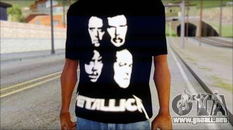 Metallica T-Shirt para GTA San Andreas tercera pantalla