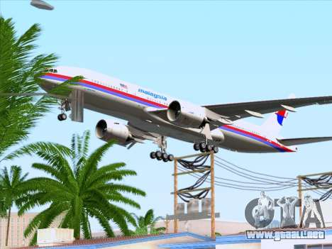 Boeing 777-2H6ER Malaysia Airlines para vista inferior GTA San Andreas