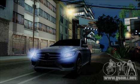 Mercedes-Benz C250 2014 V1.0 EU Plate para la visión correcta GTA San Andreas