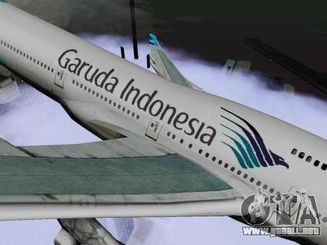 Boeing 747-400 Garuda Indonesia para GTA San Andreas vista posterior izquierda