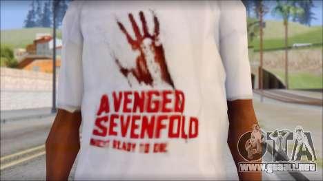 A7X Not Ready To Die Fan T-Shirt para GTA San Andreas tercera pantalla
