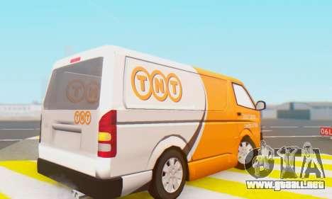 Toyota Hiace TNT Cargo Van 2006 para la visión correcta GTA San Andreas