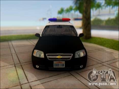 Chevrolet Aveo Police para vista lateral GTA San Andreas