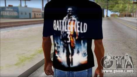 Battlefield 3 Fan Shirt para GTA San Andreas tercera pantalla