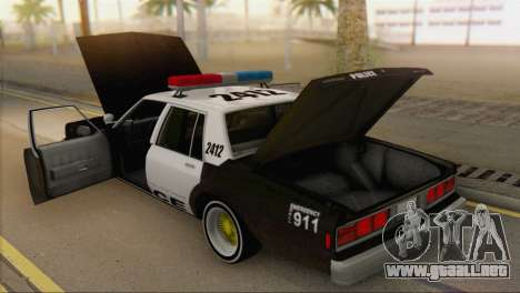 Chevrolet Caprice 1987 para GTA San Andreas vista hacia atrás