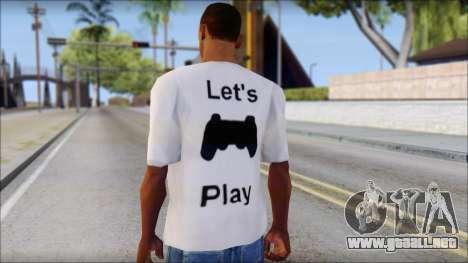 Lets Play T-Shirt para GTA San Andreas segunda pantalla