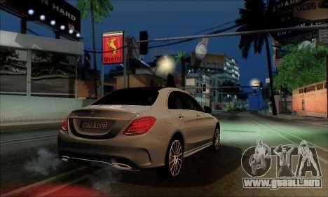 Mercedes-Benz C250 2014 V1.0 EU Plate para GTA San Andreas vista posterior izquierda