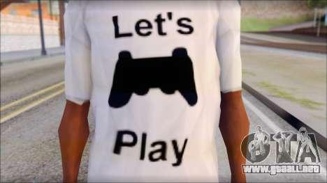 Lets Play T-Shirt para GTA San Andreas tercera pantalla
