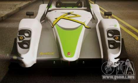Radical SR8 Supersport 2010 para GTA San Andreas vista hacia atrás