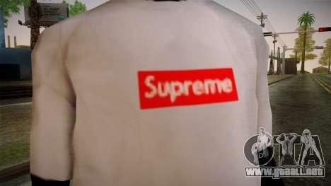 Supreme T-Shirt para GTA San Andreas tercera pantalla
