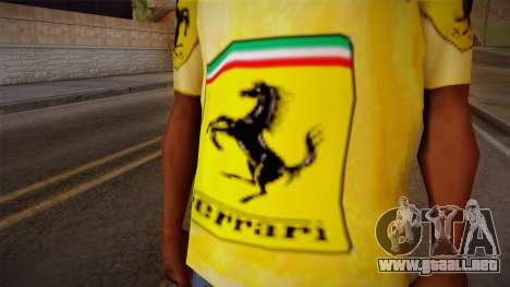 Ferrari T-Shirt para GTA San Andreas tercera pantalla