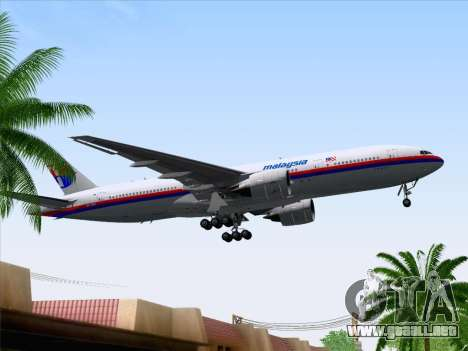 Boeing 777-2H6ER Malaysia Airlines para vista lateral GTA San Andreas