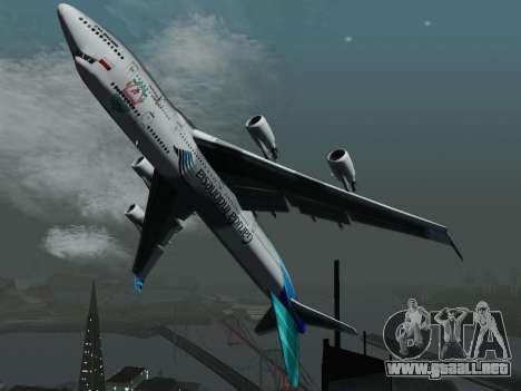 Boeing 747-400 Garuda Indonesia para GTA San Andreas vista hacia atrás