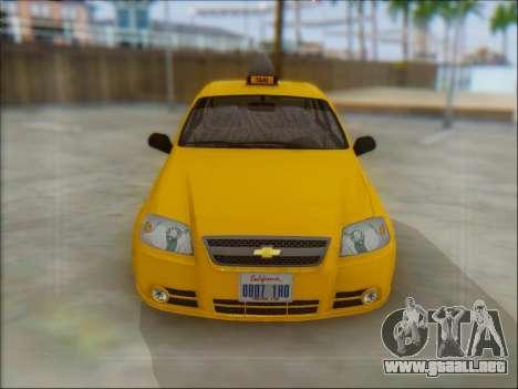 Chevrolet Aveo Taxi para GTA San Andreas vista posterior izquierda