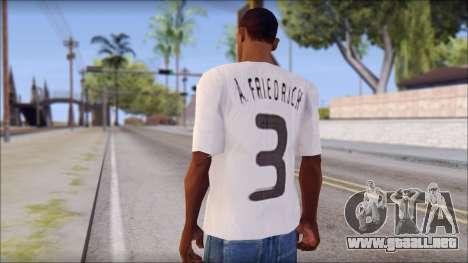 A.Friedrich Trikot T-Shirt para GTA San Andreas segunda pantalla